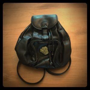 RARE - Harley Davidson Black Leather Backpack